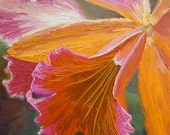 Original Oil Impasto Flower Art Painting, Orchid series No 5, botanical colorful art