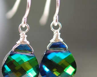 Bridesmaid Earrings, Peacock Swarovski Crystal Wire, Aqua Sphinx Wrapped on Sterling Silver French Ear Wires