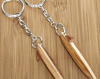 Wood Surfboard  with Fin Key Chain Surfer Surfing Surf no. 8251