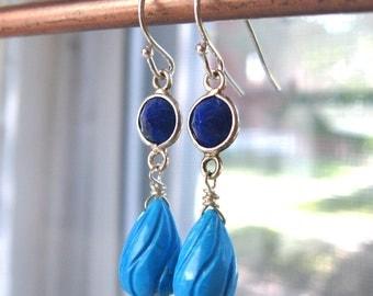 Penelope...Lapis, Sleeping Beauty Turquoise, Sterling Silver Drop Earrings...