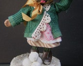 Sculpted Paper Mache Victorian Pug Dog Candy Trinket Box Handmade Original Folk Art
