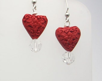 Cinnabar Hearts Crystal Earrings Handmade