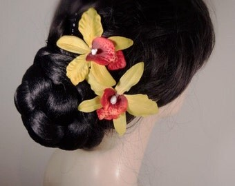 Yellow Green and Red Orchid Real Touch Hair Pin Clip Fascinator
