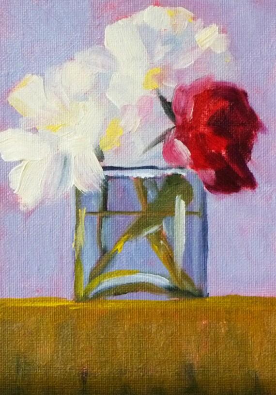 Flower Still Life, Oil Painting, Original  Still Life Floral, Red Flower, White Flower, Small Oil Painting, 5x7, Canvas Wall Decor