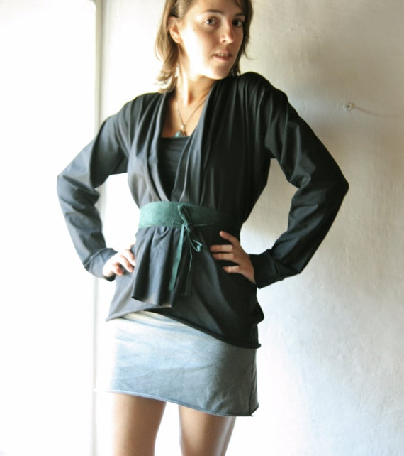 Black draped Jersey Tshirt long sleeve cardigan with belt  womens belted tank top