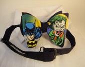 Pre tied Adjustable bow tie made with Batman/Joker fabric