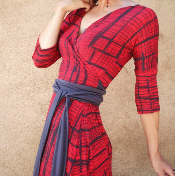 RESERVED - She's Leaving Home - iheartfink Handmade Hand Printed Plaid Wrap Dress