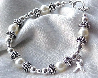 Spinal Muscular Atrophy (SMA) or Osteoporosis Awareness Hand-crafted Sterling Silver & Swarovski Crystal Bracelet