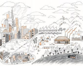 Factory Town, art print, 13x19, cityscape, architecture, ink drawing