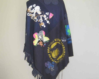 Poncho Cape CUSTOM order Shirt Studded YOUR Favorite T shirts Festival wear poncho