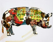 Kitchen Decor - Polkadot Pig - 8 x 10 Print of Original Painting - collage, colorful, cottage decor, farm animal
