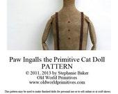 Primitive E-Pattern - Paw Ingalls the Primitive Cat Doll - PDF File Digital Download
