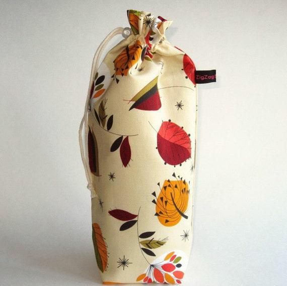 Spindle Bag, Padded Drawstring Bag - Retro Leaves