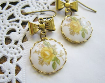 Yellow Rose Cabochon Dangle Earrings with Antiqued Gold Bows   Vintage Style Romantic Shabby Chic Gift for Her Under 20