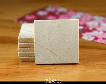 1.25 Inch Square Wood Tiles for Pendants and Magnets and More. 1/8 Inch Thick. 50 pack