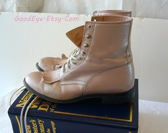 Vintage JUSTIN Leather High Top Boots Size 7 m Eur 37 .5  UK 4 .5  Frosty PINK Pastel Granny Lace Up Ropers Oxfords