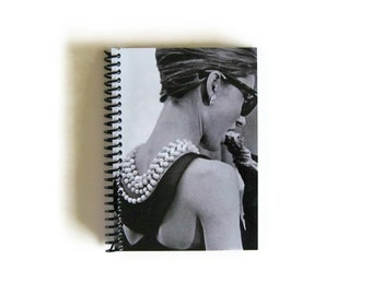 Audrey Hepburn Breakfast at Tiffany Blank Sketchbook, Spiral Bound Writing Journal Diary, Handmade Pocket Notebook, A6, Cute, Gifts Under 15