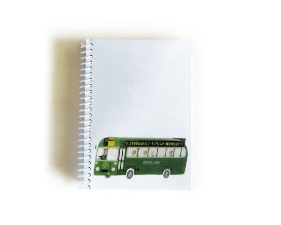 Green Bus, Travel Journal, Writing Journal, Back to School, Mid Century Modern, Gifts Under 15, Blank Sketchbook, Small Notebook