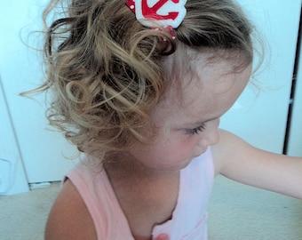 SUMMER IDEAS - ANCHORS Away Hair Clip - red holiday anchor hair clip for girls - velcro included - cute hair clips hair bow vacation