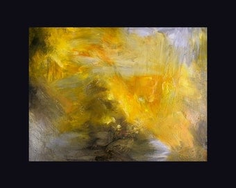 Abstract oil painting,  gold, amber, grey, 11 x 14 inches,