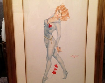 SALE MidCentury VALENTINE Key 2 my Heart DEMARTINI Original Pin-Up Fencing Swords Vintage Burlesque Painting Vargas Varga pinup Great Value