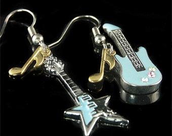 Swarovski Crystal Blue ELECTRIC GUITAR Hard Rock star Music Note enamel paint Earrings Christmas Gift New