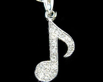 Swarovski Crystal Piano MUSIC musical Eighth NOTE Quaver Pendant Necklace Christmas Best Friend Gift New