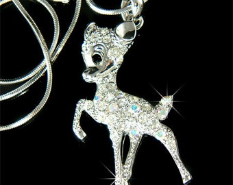 Swarovski Crystal Clear Cute BAMBI DEER Fawn Charm Pendant Chain Necklace Cute Christmas Best Friend Gift New Jewelry