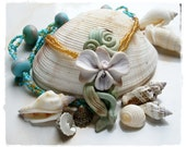 Orchid Necklace White Flower Peyote Beaded in Ocean Colors