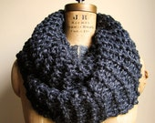 Super Snuggly Chunky knit cowl Charcoal Grey. Silver Sparkle. Infinity scarf.