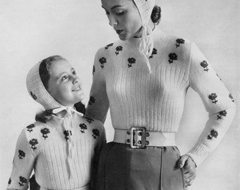 Mommy & Me Retro 50s Winter Sweater and Cap Sets - Vintage Knitting Pattern - PDF eBook