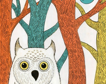 "Blue Moon Owl Forest Art Print 8"" x10"""