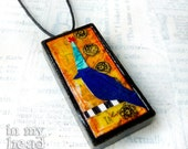 The Party Bird -  Fine Art Paper Collage on Black Wood Domino - Pendant Jewelry - Dots 2/2 (4) - A Tiny Work of Awesome - RNEST Challenge
