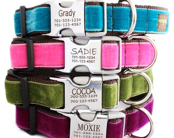 Metal Buckle Lazer Engraved Personalized Velvet Dog Collar - 14 colors