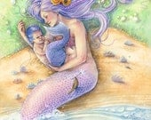 Mermaid Art Print Purple Mermaid with Baby on Seashell Beach