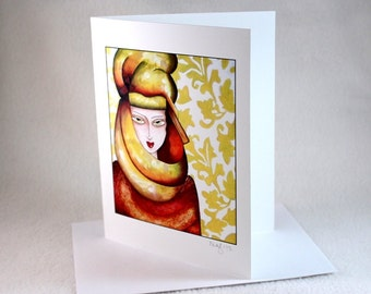 Blank Note Card, Art Deco, Egyptian Girl Art Illustration Notecard, Blank Greeting Card, All Occasion Card, Turban, Art Print, Red Burgundy