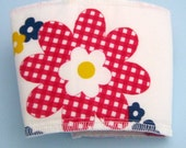Red Gingham Flower Coffee Cup Cozy with Hook and Loop Closure
