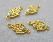 4 Gold Plated Opaque Light Blue, Mini Hand Connectors with Crystals