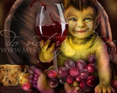 Greasing the Wheels... Print... Goblin drinking wine... grapes and cheese
