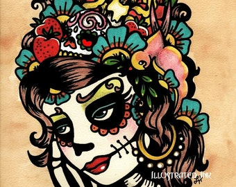 Day of the Dead Art Sugar SKULL BEAUTY 5 x 7, 8 x 10 or 11 x 14 Print