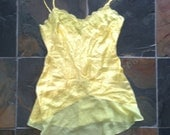 Yellow 100% Silk Wet Seal shirt M Medium Lingerie Camisole style tank dress 1990s