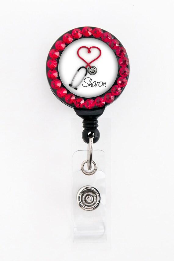 Name Badge Reel - Red Heart Steth - Personalized with Swarovski Rhinestones