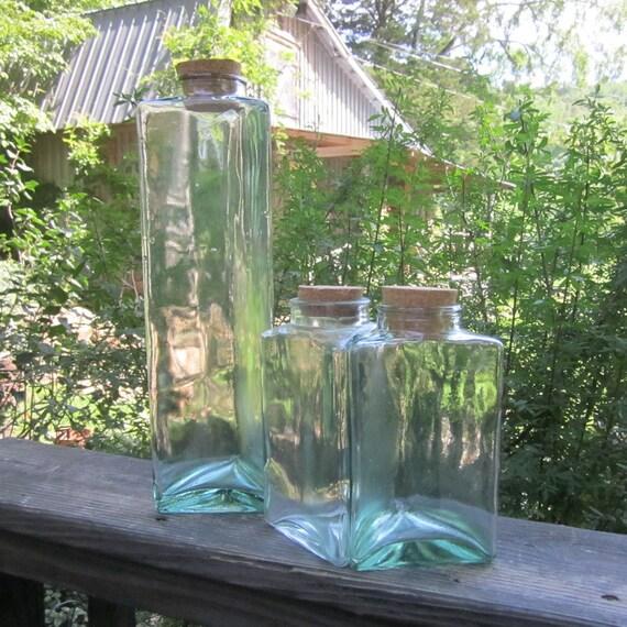 Three Vintage Green Glass Bottles - Triangular