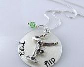 "Gymnastics I Love to Flip Necklace - 1"" Hand Stamped Sterling Silver Disc, Swarovski Crystal, Gymnast Charm"