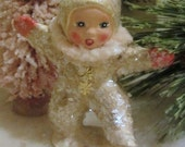 Vintage Style Snowbaby Figurine/Ornament Dancing with Left Leg Out and Pretty Pale Pink Chenille Scarf Handmade Collectible