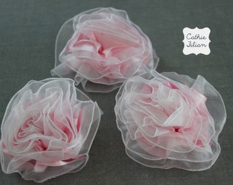 Pink Gathered Roses - 3 Fabric Flowers - Millinery, Altered Couture, Hair Flowers, ribbon rose