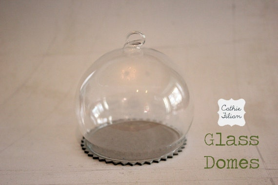 """Mini Glass Dome - 3"""" inches tall - altered art - shrine - terrariums - message in a bottle"""