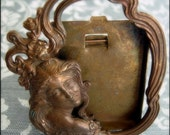 Original French Art Nouveau Bronze Metal Mini Frame - Ethereal Lady