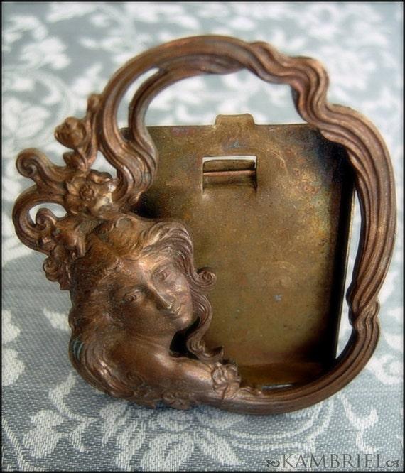 Original French Art Nouveau Bronze Metal Mini Frame - Ethereal Lady