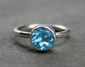 Swiss Blue Topaz Sterling Silver Ring, Faceted Gemstone, Hammered Band, Blue Topaz Jewel Statement, Stacking, December Birthstone, Solitaire